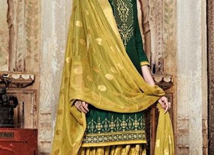 Dark Green embroidered shirt and printed yellow salwar