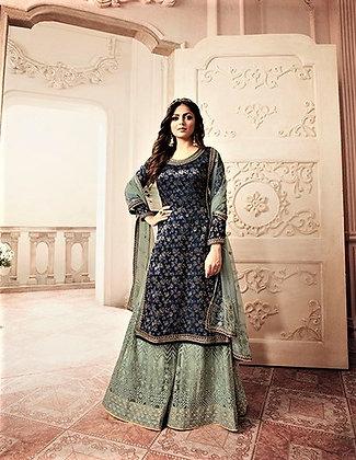 BlueGreen embroidered Sharrara Suit