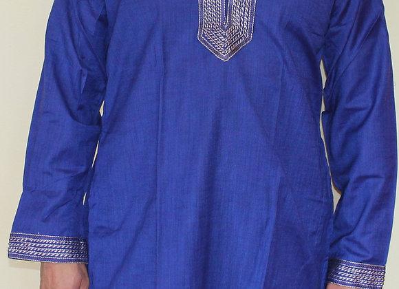 Plain Blue Silk Kurta for Men w/ Embroidery (L)