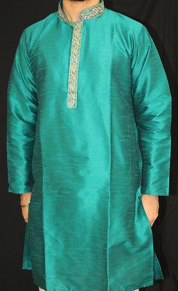 Teal Blue silk kurta ( L )
