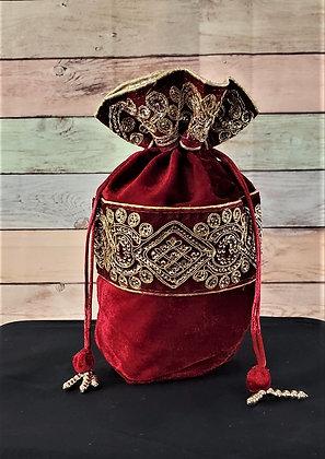 Maroon Embroidered Potli Bag