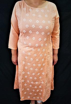 Peach Kurti chikankari embroidery