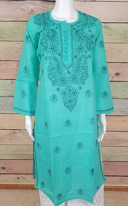 Teal Green Embroidered Cotton Kurti