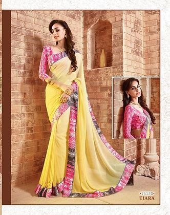 Light Yellow Gorgette Saree with designer blo