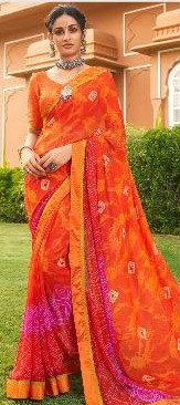 Red and Orange Georgette sari