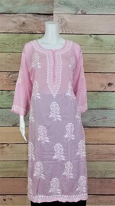 Soft Pink Modal Cotton Kurti w/ Embroidery