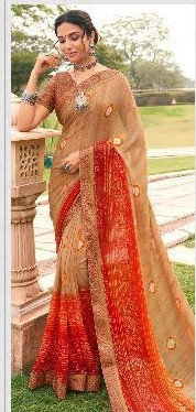 Georgete Sari Fawn and Red
