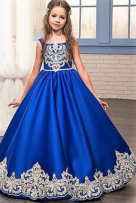 Blue Indo Western Gown (7 to 9 Yr)