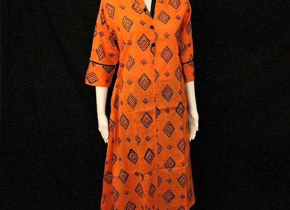 Orange cotton long Kurti 3/4 sleeve