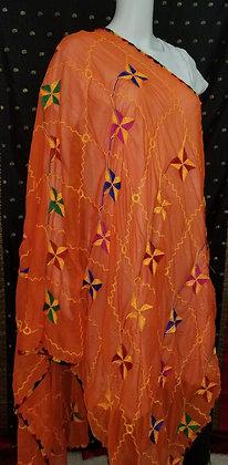 Orange Chiffon Embroider Dupatta