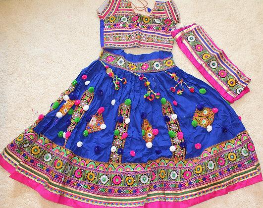 Blue & Pink Traditional Kutch Garba Chaniya Choli M/L