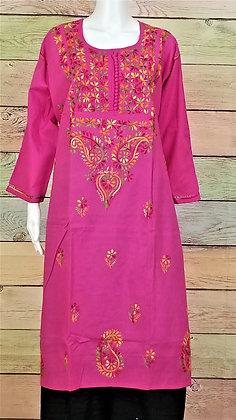 Rose Pink Cotton Kurti w/ Embroidery