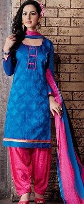 Dark Blue self print Salwar Suit