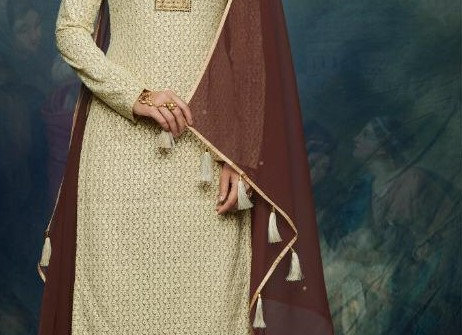 Sand Color and Brown Georgette Lehanga Suit