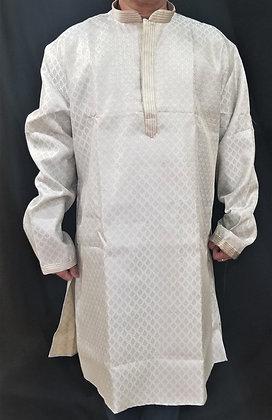 Gray self-print silk Kurta (4XL)