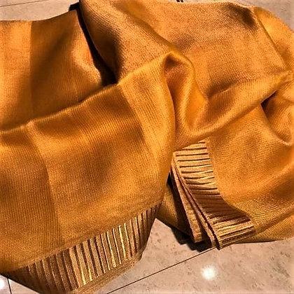 Mustard handloom cotton linen saree