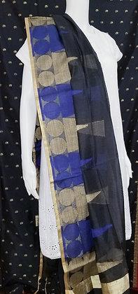 Black and Blue Cotton Dupatta