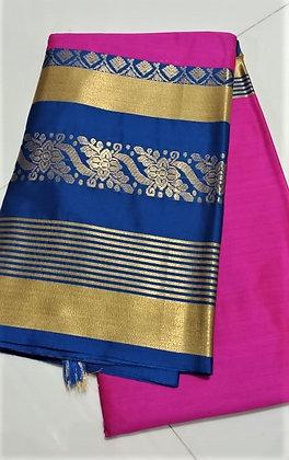 Blue and Pink Cotton Silk Saree