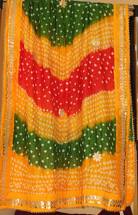 Yellow, Red and Green Bandhej Dupatta