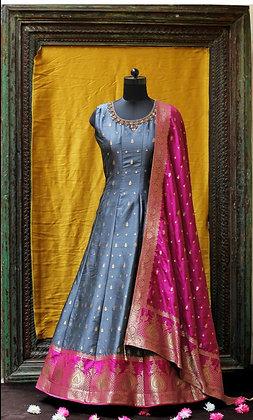 Gray Silk Gown w/Pink Dupatta