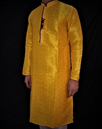 Golden Yellow Silky Readymade Kurta