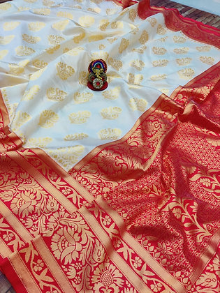 Cream and Red Silk saree