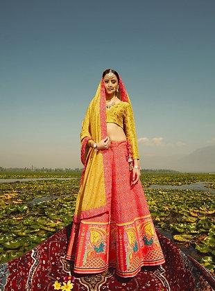 Yellow Semi-Silk Lehnga-Choli