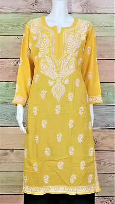 Mango Yellow Modal Cotton Kurti w/ Embroidery