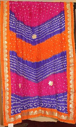 Orange, Blue and Pink Bandhej Dupatta