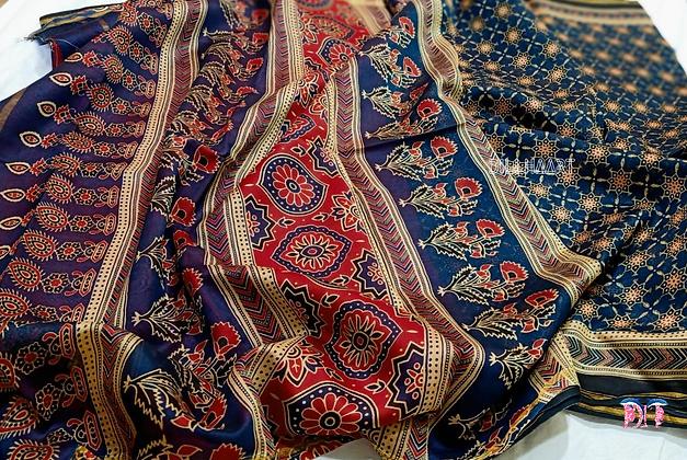 Ajrakh Deep Blue chanderi handloom saree