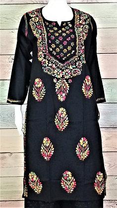 Black Cotton Kurti w/ Embroidery