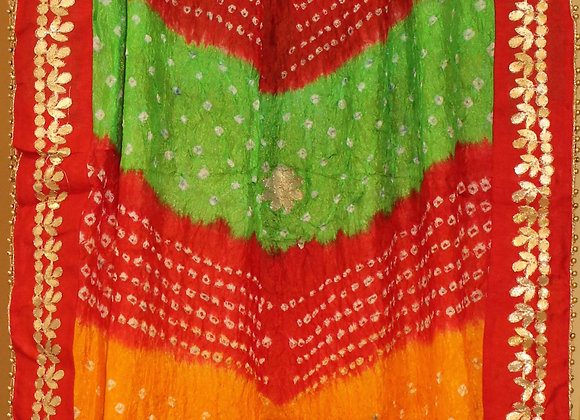 Red, Orange and Green Bandhej Dupatta