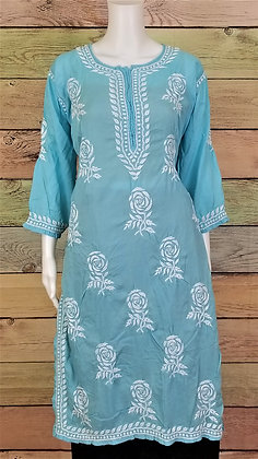Sky Blue Modal Cotton Kurti w/ Embroidery