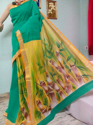 TEAL BLUE COTTON HAND PAINTED SAREE