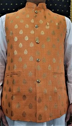 Light Orange w/golden design Men Vest