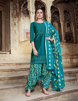 Blue embroidered shirt printed salwar