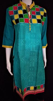 Teal Blue Green printed kurti w/ colorful Border