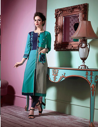 Teal Blue, Gray and Blue trendy cotton Kurti