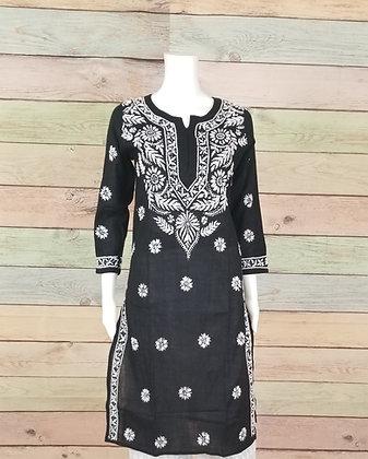 Black Beautiful Embroidered Cotton Kurti