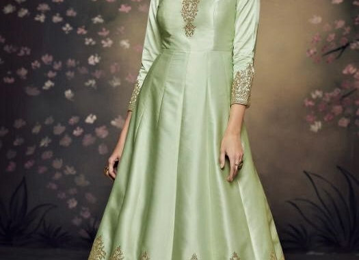 Green Indo-western Gown w/ Embroidery