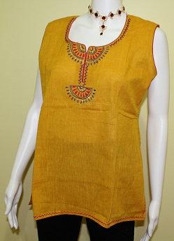 Sleeveless Golden Yellow Cotton Tunic