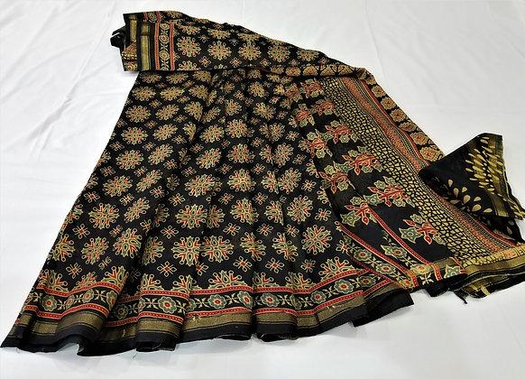 Ajrakh print chanderi handloom saree