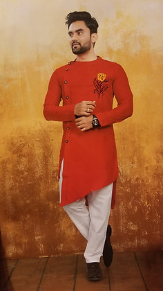 Soft MulMul Red Kurta