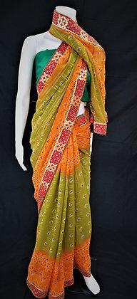 Mehndi, Orange and Red Bhandej printed Saree