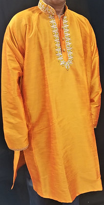 Orange self-print silk Kurta (4XL)