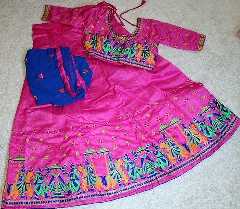 Pink Gujarati Lacha Chaniya Choli for Garba Dandiya(M/L)