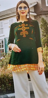 Dark Green Soft Cotton Kurti ( S )