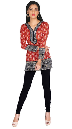 Red American crepe full sleeve short kurti