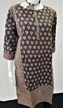 Black Printed Cotton Rayon Kurti