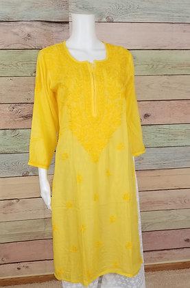 Lemon Yellow Embroidered Cotton Kurti